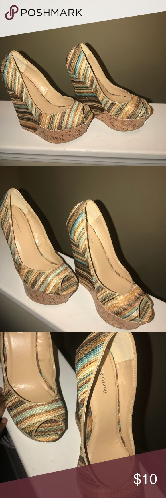 Women's Multi Colored Wedge Heel Small scratch on front of shoe( pictured). Shoes Wedges