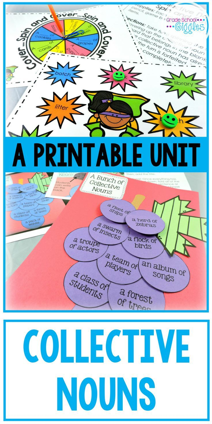 Collective nouns are a basic unit of grammar that all students need to understand as part of the Common Core Standards, but teaching them can be tricky. This printable unit on Teachers Pay Teachers is a great collection of activities to make learning grammar fun for kids. There are interactive worksheets, foldable pages for to use in an interactive notebook, games, word sorts, posters with definitions and pictures, and even a craft. It's great for first, second, and third grade (1st, 2nd…