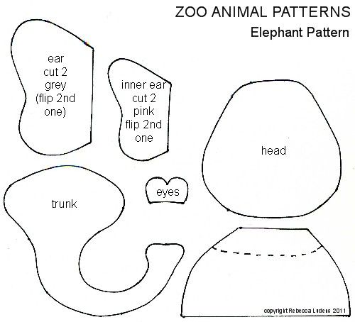 Zoo Animal Free Paper Piecing Patterns for Scrapbooking - Elephant Pattern for Scrapbooks - Ludens