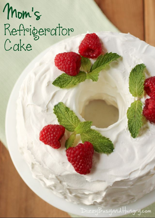 Mom's Refrigerator Cake | DizzyBusyandHungry.com - Chocolate fudge frosting between layers of light, fluffy angel food cake smothered in whipped topping! #cake #dessert #chocolate