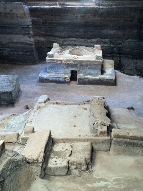 El Salvador - Temascal (sauna) at Joya de Ceren Archaeological Park. A UNESCO World Heritage Site. A Maya settlement of circa AD 650 preserved by a volcanic eruption. / suchitoto.tours @gmail.com