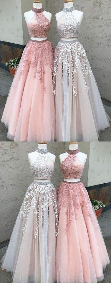 Dazzling Prom Dress,High-Neck Prom Dress,Long Two-Piece Applique Prom Dress,Lace Evening Dress #longpromdresses