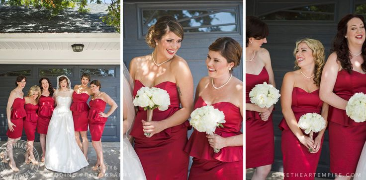 Happy bridesmaids in red, before heading out to the ceremony! Geraldo's at Lasalle Park, Burlington Wedding Photographer #sweetheartempirephotography