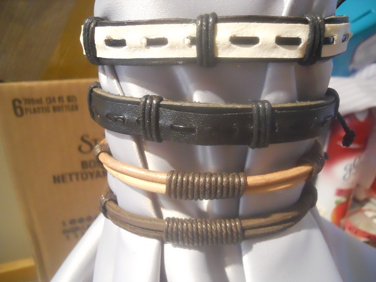 100% Leather Mens Casual Bracelets - $8    Length: 26 inches  Gender: Men  Material: Leather  Style: Casual/Tie    2 designs to choose from!  http://www.facebook.com/CandysCoutureCanada