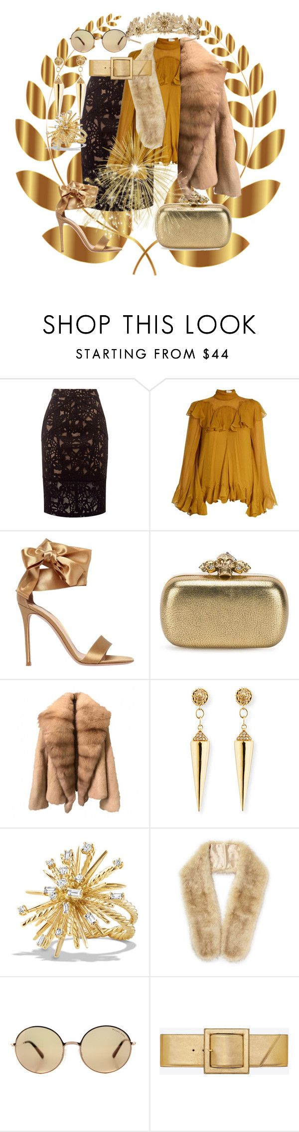 """""""Untitled #2737"""" by princhelle-mack ❤ liked on Polyvore featuring Laurel Wreath Collection, Chloé, Gianvito Rossi, Alexander McQueen, Sydney Evan, David Yurman, Miss Selfridge, Michael Kors and Yves Saint Laurent"""