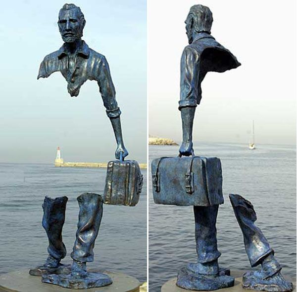 "Le Grand Van Gogh (The Great Van Gogh) by Bruno Catalano. Bronze sculpture from his ""Les Vorageurs"" (The Travelers) series.  There's something great about the way it triggers your imagination to fill in the blank space."