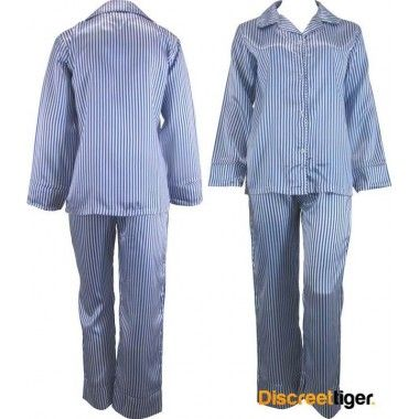 Rug up for winter and dream the night away in these casual blue and white striped satin pyjamas pj's. Wide cuffs on both pants and shirt. Beautifully made, you won't want to take these off.
