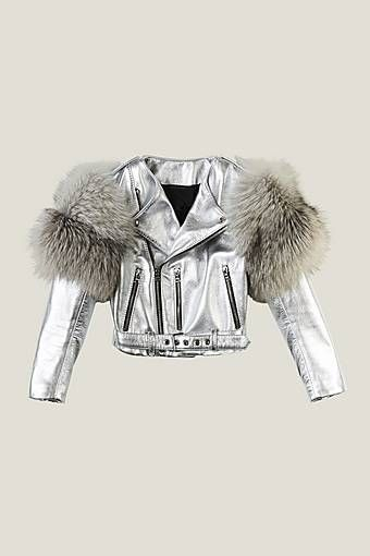 Metallic Moto Leather Jacket With Fur Sleeves