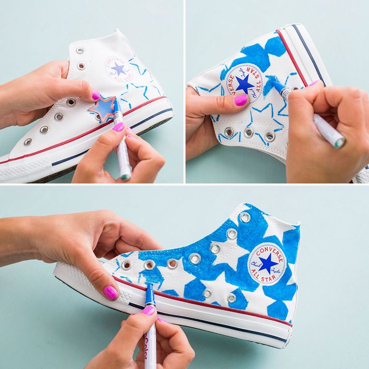Follow this easy style DIY hack to upgrade your basic sneakers for 4th of July by adding stars + stripes with red + blue paint pens.