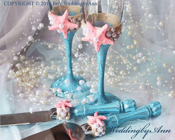 Strand bruiloft bril fluiten Toasting Turquoise en Coral