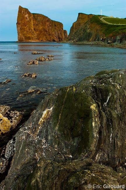 Rocky shoreline at Percé Rock, in the village of Percé in Quebec's Gaspésie peninsula.