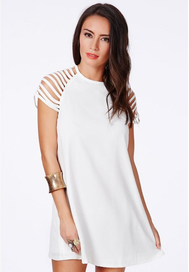 Berangaria White Caged Sleeves Swing Dress is on sale now for - 25 % ! is on sale now for - 25 % ! #FashionInspiration