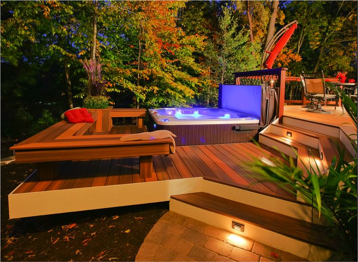 Top 10 Beautiful Backyard Designs I love the outdoor spa with fabulous decking