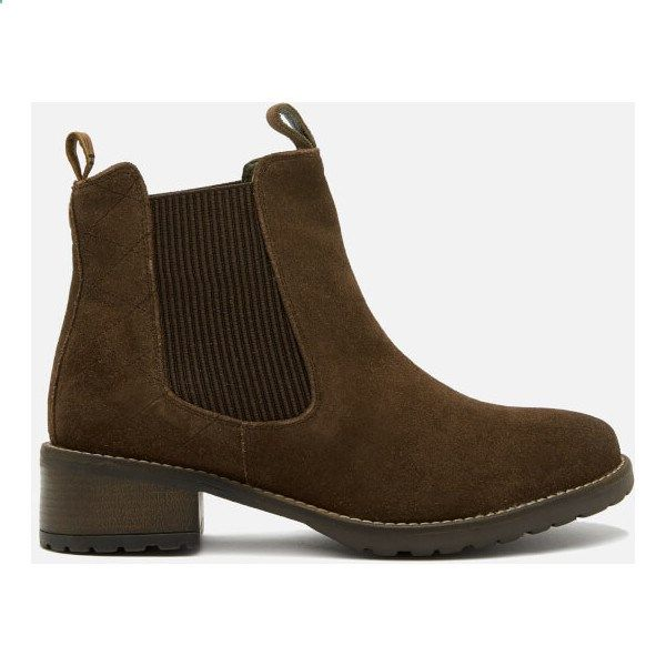 Barbour Womens Latimer Waxy Suede Chelsea Boots - Brown ($165) ❤ liked on Polyvore featuring shoes, boots, ankle booties, brown, suede ankle boots, ankle boots, flat suede booties, flat ankle boots and brown chelsea boots