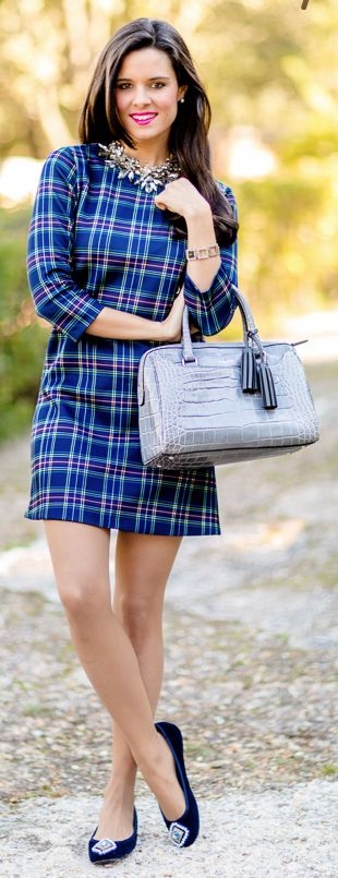 Vestido de cuadros Crimenes de la Moda Tartan dress - collar Zara necklace - bailarinas DIY Ballet Flats - bolso Coach bag