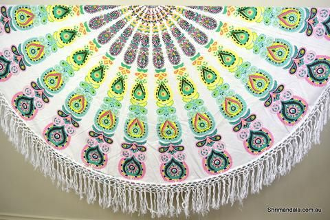 Harmony Mint Mandala Beach Round Throw