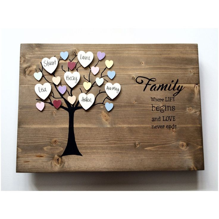 Family tree, wooden family tree, rustic wall art, personalised, plaque, family tree gift, family keepsake, custom family tree, our family by OldPottingShed on Etsy