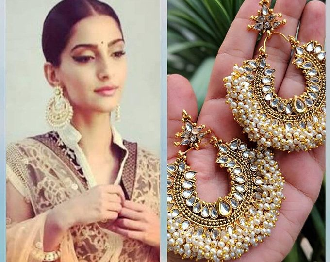 Indian jewelry traditional jewelry high quality gold tone Meenakari Kundan earrings lined with fine pearls