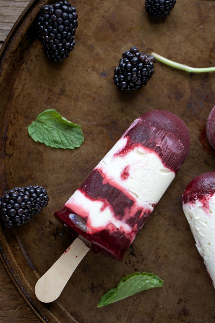 Blackberry Mint Popsicles: Lightly sweetened with maple syrup, these blackberry mint popsicles offer a beautiful, bright flavor. Whipped cream, infused with the bright notes of fresh mint, makes for a lovely addition.