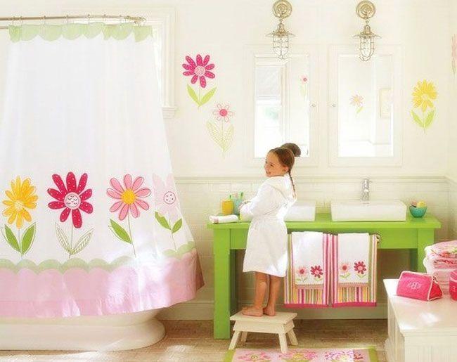 15 Cheerful Kids Bathroom Decor Ideas 2013 : White Flower Themed Kids  Bathroom Decor With White