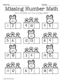 Easter Math - graphing, missing number, counting on, & ten frames $