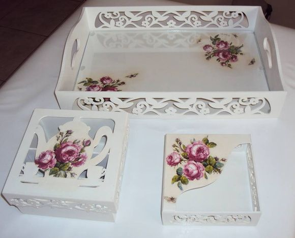 A beautiful array of hand decoupaged items that would suite a cottage.......love it!!!!!!