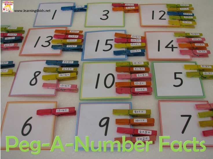 Peg-a-Number Facts - a fun game for kids to play and learn basic addition and subtraction sums. {learning4kids}