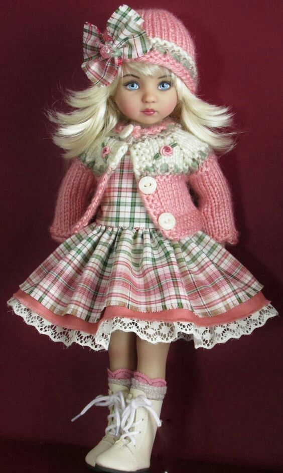 Preppy Pink & Green Plaid Effner Dolls Outfit