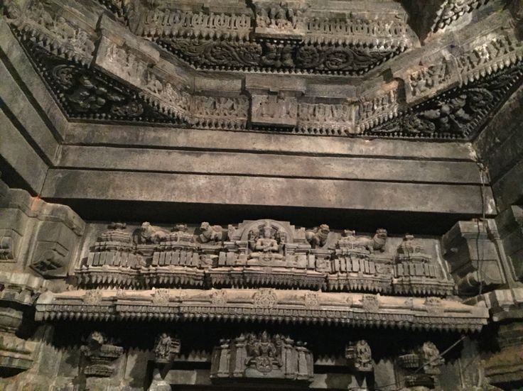 Inside the temple tower. Frenzied superbly sculpted stone works from 14th century. At Chennakeshava temple in Somanathapura