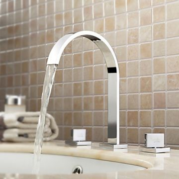 Widespread Contemporary Chrome Finish Bathroom Sink Faucet