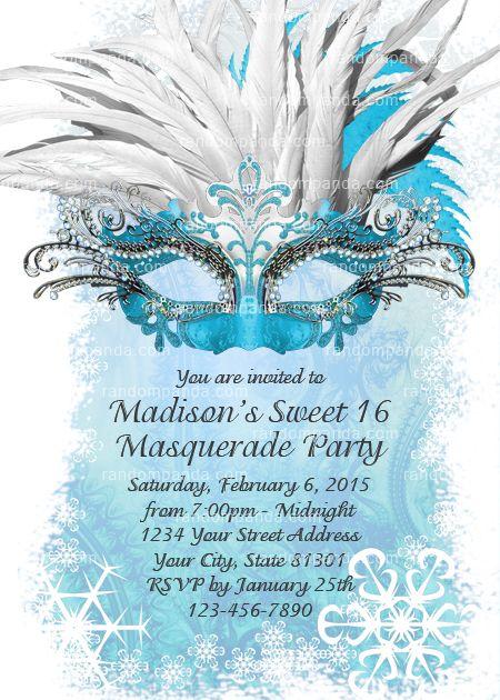Masquerade Ball Invitation, Ice Blue Sweet 16 Party, Winter Masquerade Invite
