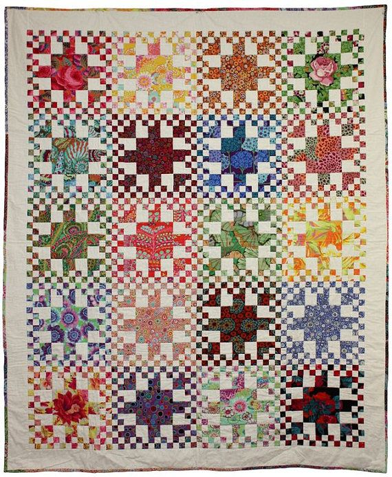 Rainbow Checks Quilt Pattern - available as PDF or paper.