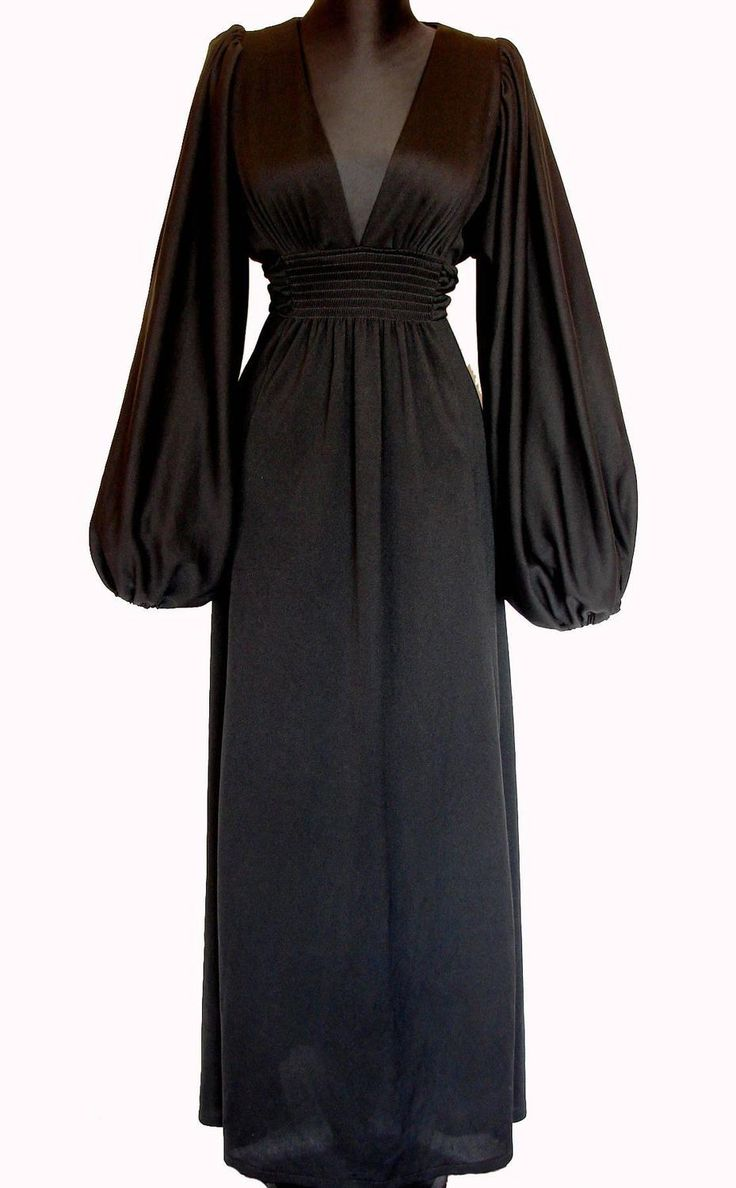 Ossie Clark for Radley Black Plungling Neckline Maxi Dress Bishop Sleeves 70s | From a collection of rare vintage evening dresses and gowns at https://www.1stdibs.com/fashion/clothing/evening-dresses/