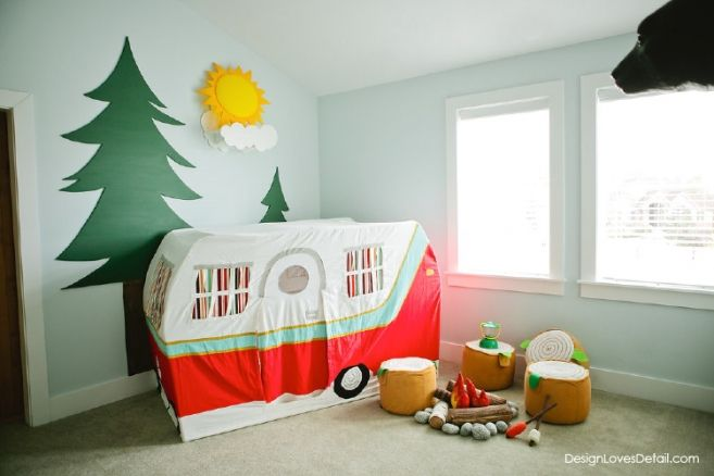 Camping Playroom from Design Loves Detail. Cute Land of Nod Camper and campfire. Click to see more pictures and for soure list!