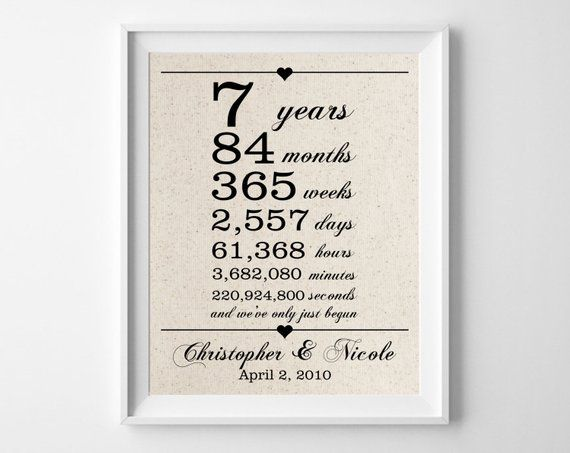 7 Years Together Cotton Gift Print 7th Anniversary Gifts 7 Year Anniversar 12 Year Anniversary Gifts Anniversary Gifts For Husband 12th Anniversary Gifts