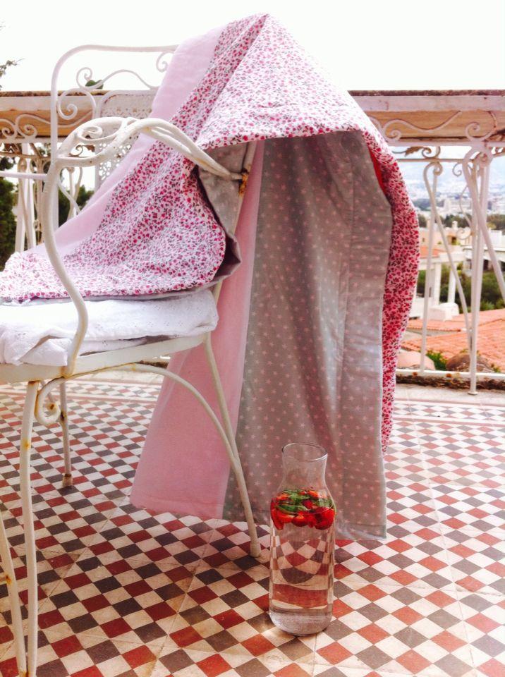 Lie on stars. Summer bathing towel