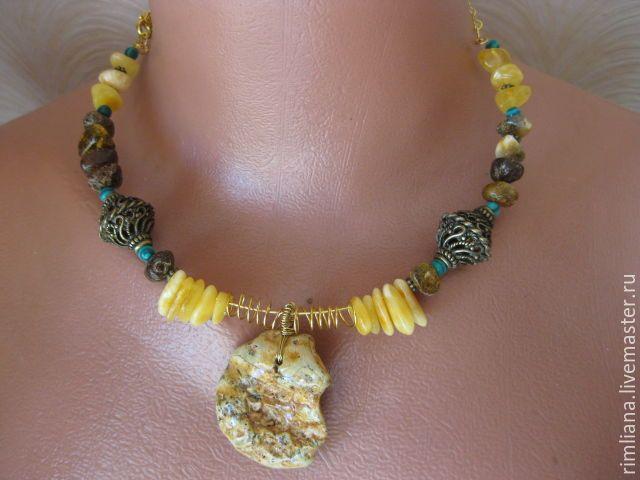 """Купить Янтарное ожерелье """"Мелодия Солнца"""" - природный янтарь. - украшения…"""