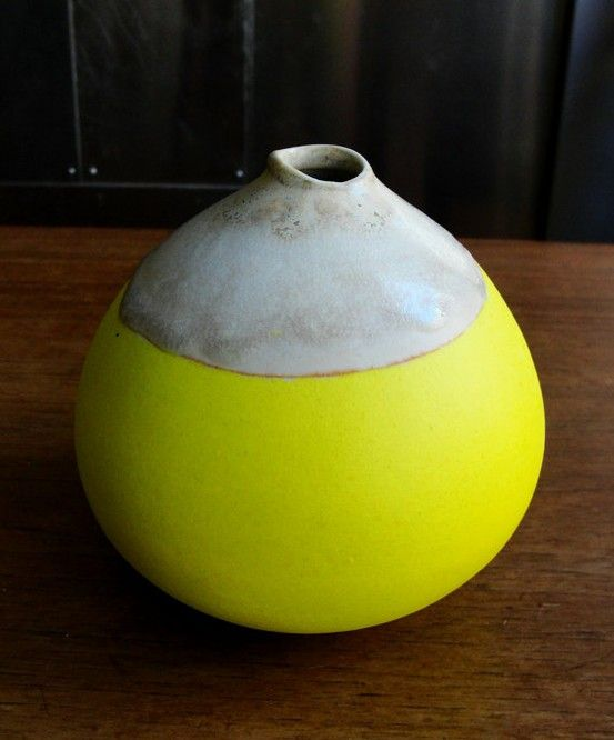 bright yellow gourd art sculpture pottery inspired gourd