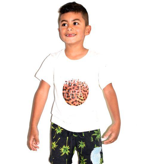 Cute kids clothing/fashion / casual white tee with leopard print / beach surf street boho style / Tevita clothing