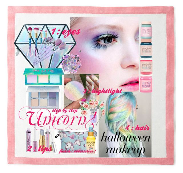 Halloween Makeup : Unicorn ! by reemily on Polyvore featuring polyvore beauty Lime Crime Charlotte Russe The Gypsy Shrine Unicorn Lashes Too Faced Cosmetics Deborah Rhodes Squatty Potty