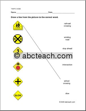 Worksheet Traffic Warning Signs Matching Preview 1