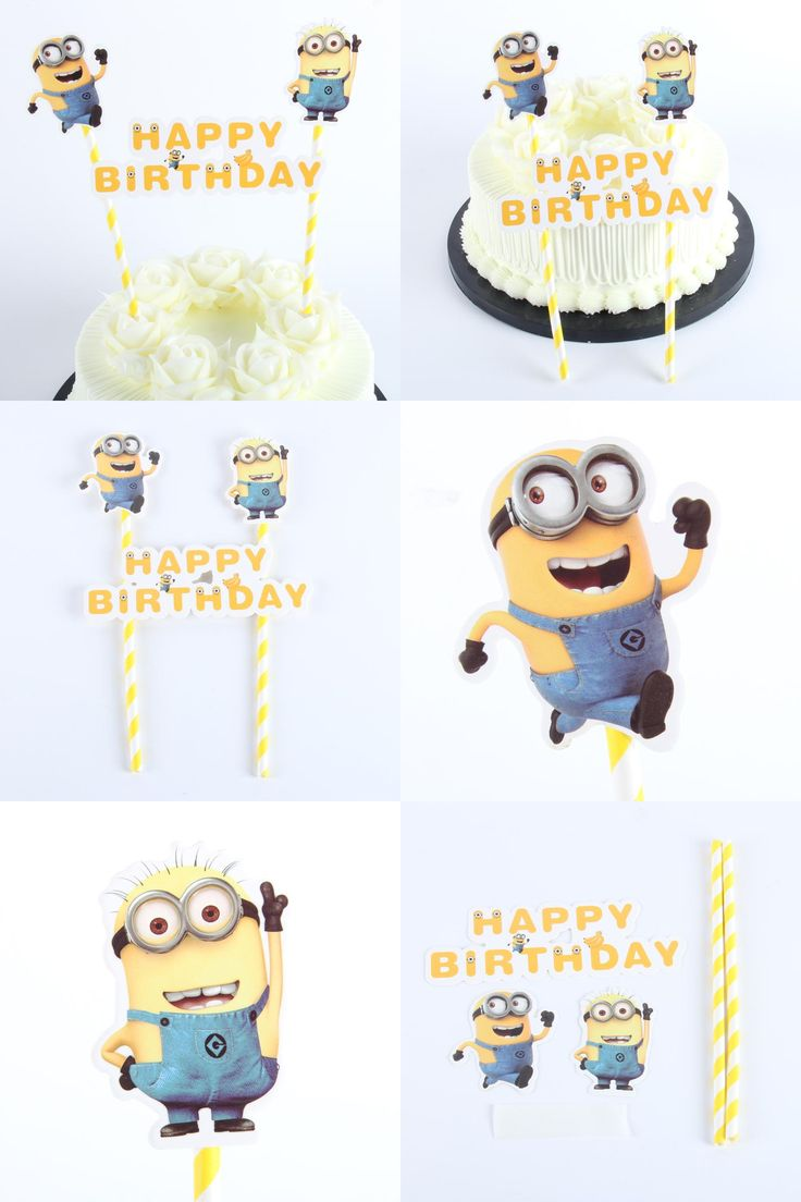 [Visit to Buy] 1pack Minion Cupcake Topper Cartoon Cake Flags With Paper Straw For Wedding Birthday Party Decoration Supplies #Advertisement