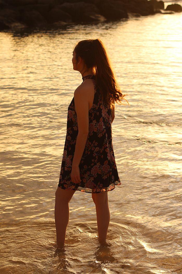 Oahu Hawaii, floral dress
