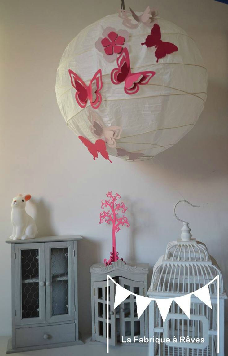 luminaire suspension abat jour papillons fleurs rose. Black Bedroom Furniture Sets. Home Design Ideas