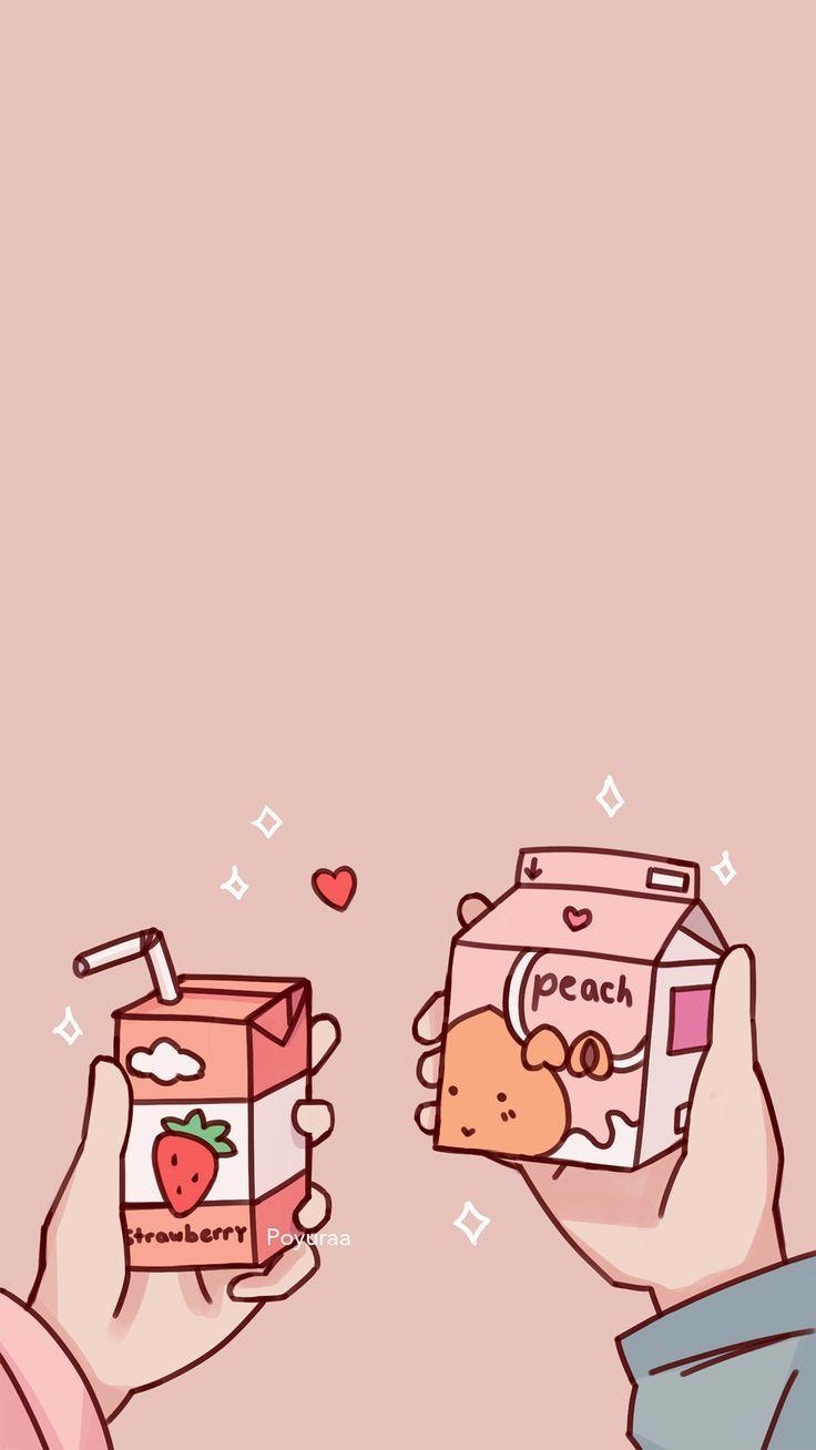 Postcard Aesthetic Japanese Drink Art Print Kawaii Pink Strawberry Milk Illustration Greeting Cute Wallpaper For Phone Wallpaper Doodle Kawaii Wallpaper