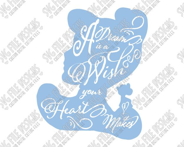 Cinderella Silhouette Disney Word Art SVG Cut File Set with SVG EPS DXF JPEG and PNG Files for Disney Crafts with Cricut, Silhouette, and Brother ScanNCut