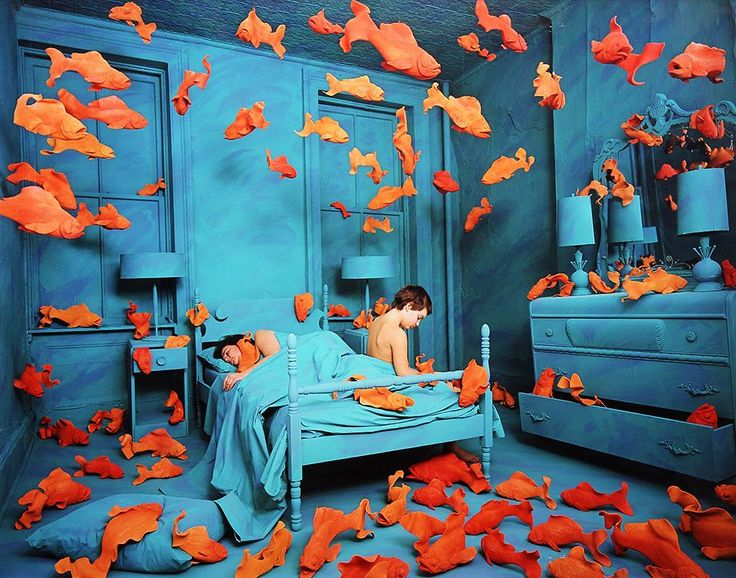 """Sandy Skoglund, Revenge of the Goldfish, 1987 - Sandy Skoglund at Paci Contemporary  Surrealist Sandy Skoglund will premiere her new work, """"Winter,"""" at Paris Photo. The show will serve as a quasi-retrospective of the American artist's career, pairing her early still-life photographs with her latest, never-before-seen pieces."""