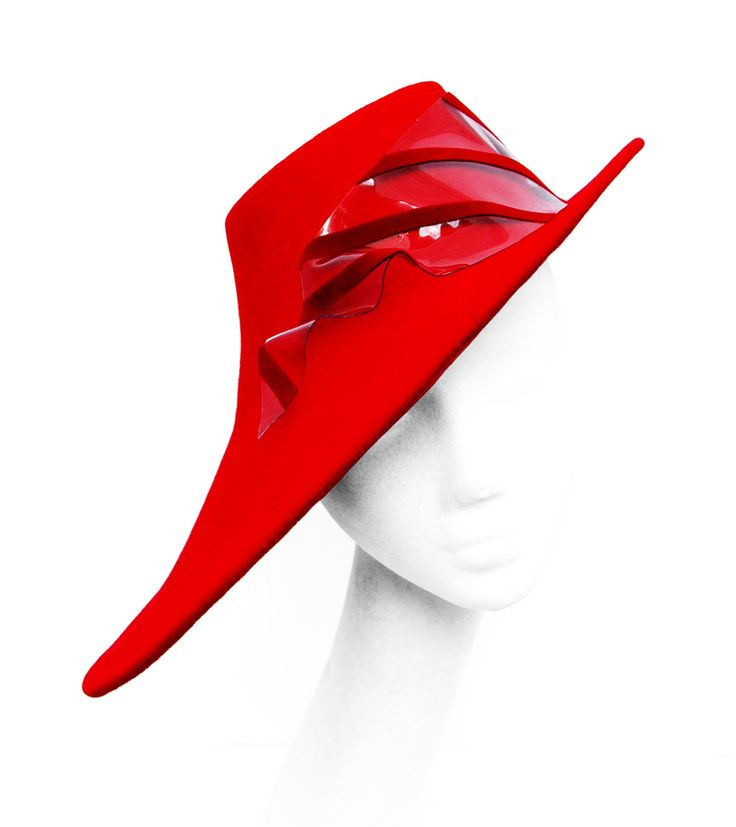 Red Felt Side Trilby Perspex hat