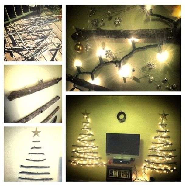 Diy wall christmas tree made fom sticks m command