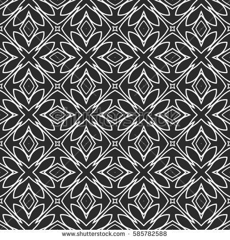 Seamless decorative geometric floral pattern. vector illustration. grey, white color